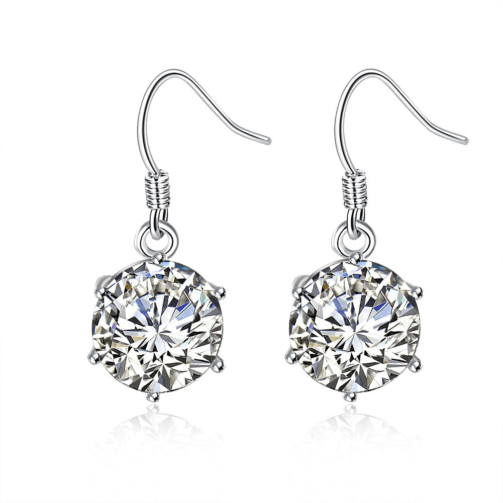18K White Gold Plated Classic Crystal Earring - Cozzoo
