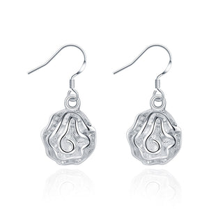 18K White Gold Plated Drop Floral Bud Earring - Cozzoo