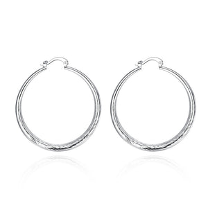 18K White Gold Plated Downtown Abbey Inspired Hoops - Cozzoo