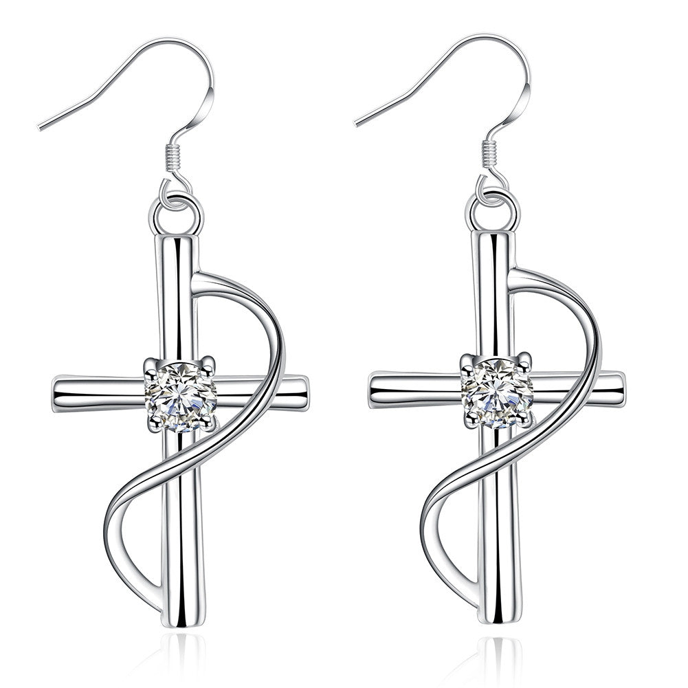 18K White Gold Plated Abstract Curved Cross Earring - Cozzoo