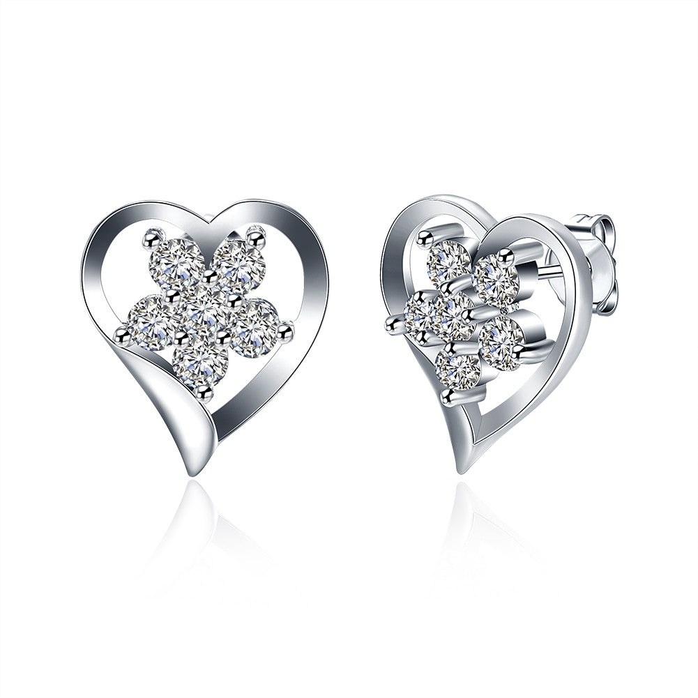 18K White Gold Plated Angular Heart Shaped with CrystalEarring - Cozzoo