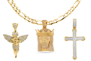 18K Gold Plated Religious Cross Set - Fiagro Necklace + 3 Pendants - Cozzoo