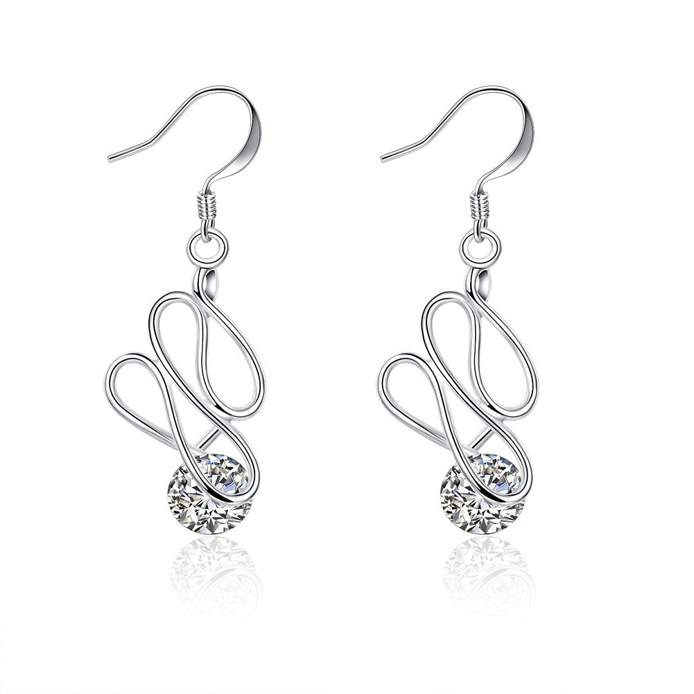 18K White Gold Plated Abstract Circular Drop Earring - Cozzoo