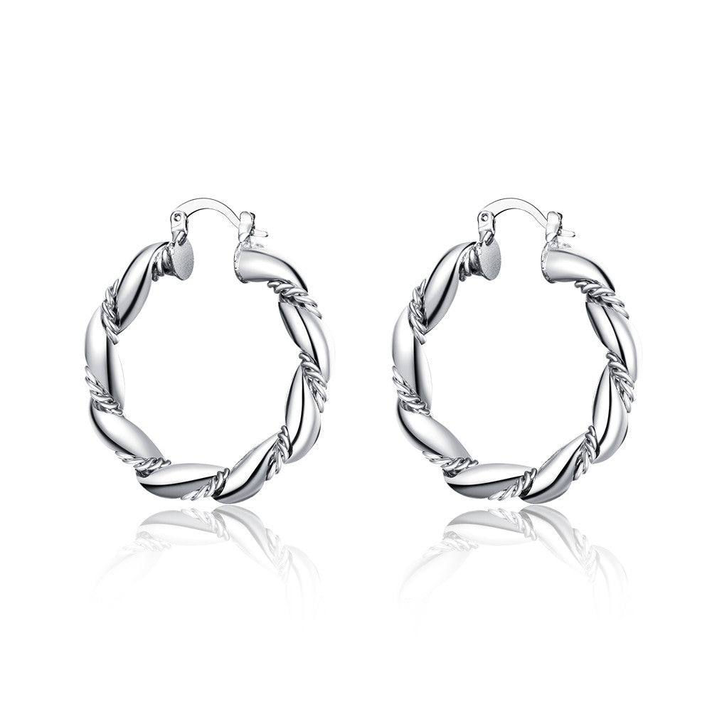 18K White Gold Plated Curved Ancient Rome Hoops - Cozzoo