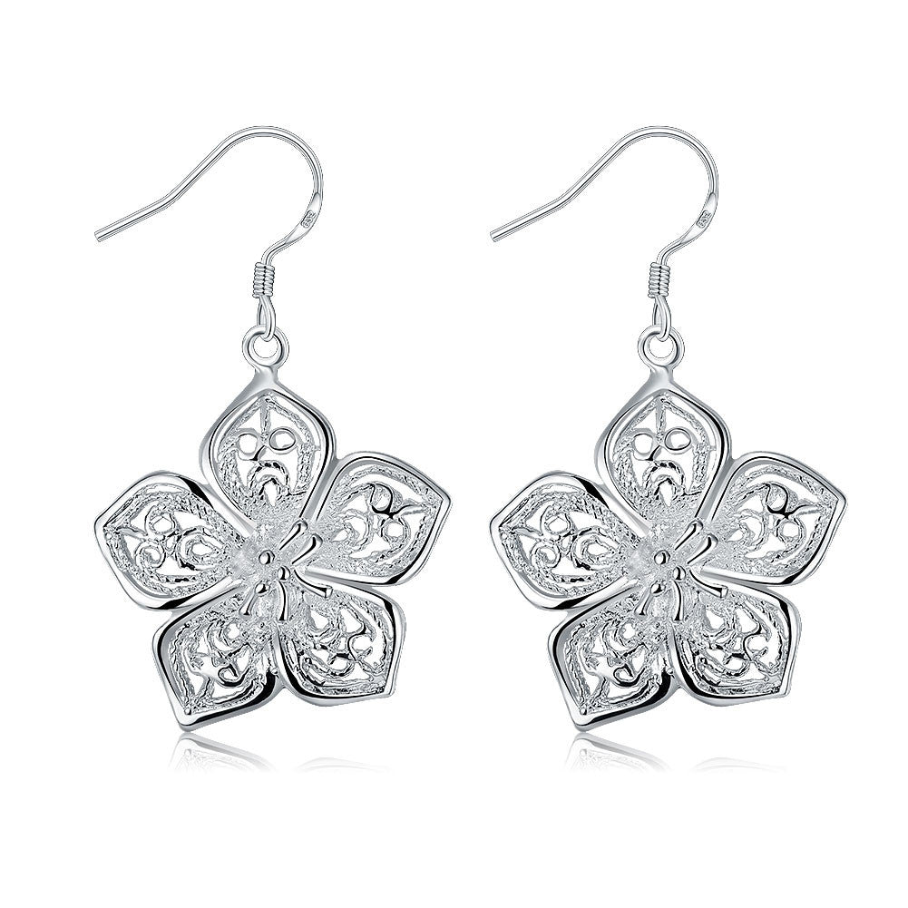 18K White Gold Plated Drop Laser Cut Floral Earring - Cozzoo