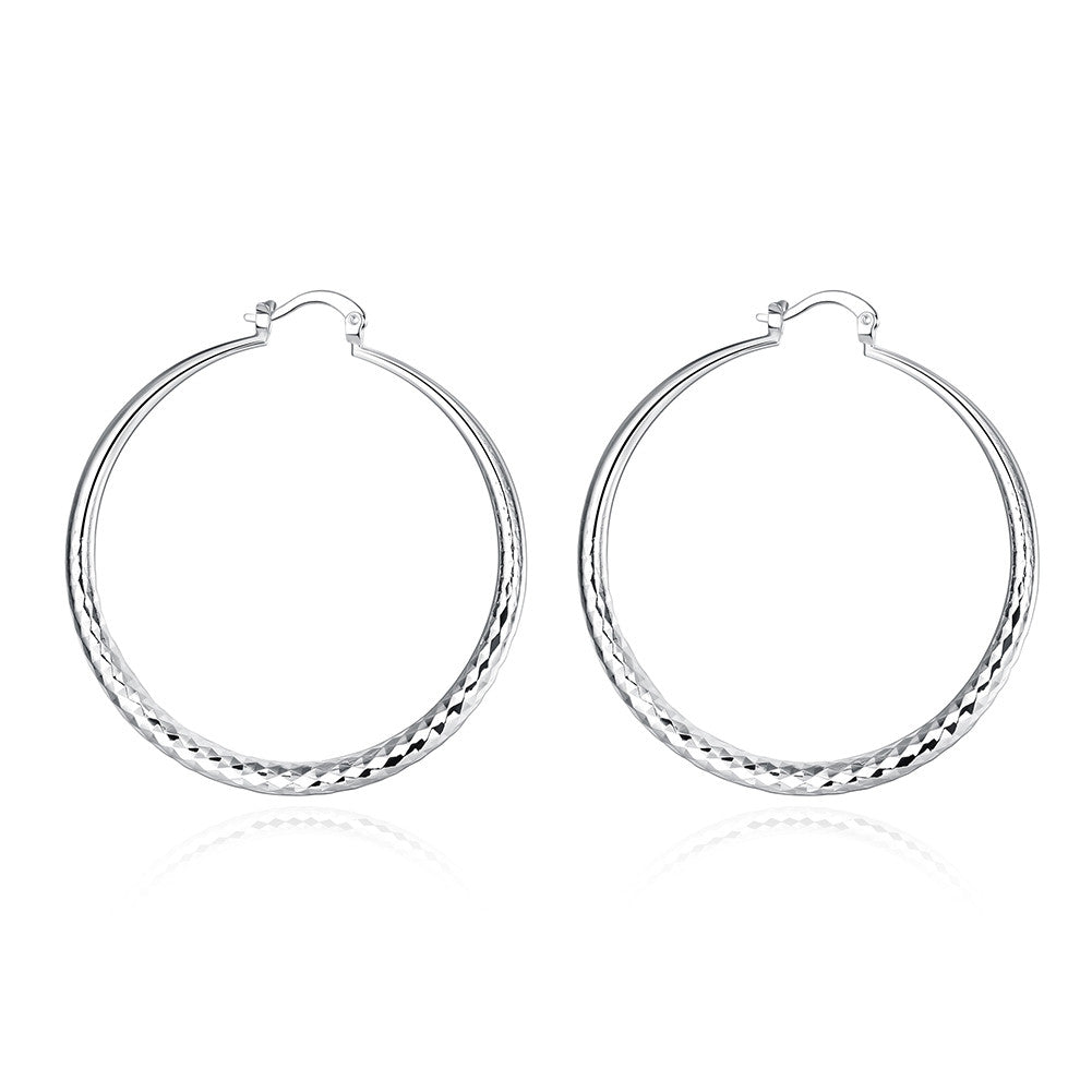 18K White Gold Plated Classic Greek Hoop Earring - Cozzoo