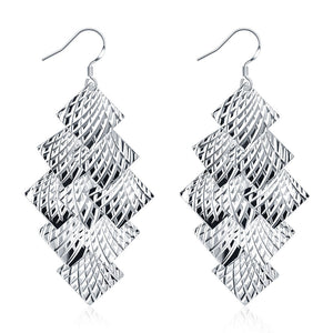 18K White Gold Plated Drop Beaded Plates Earring - Cozzoo