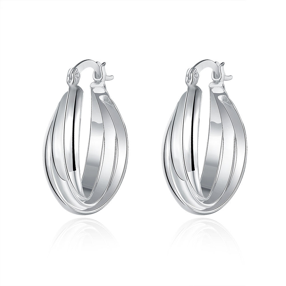 18K White Gold Plated Bent Lining Hoops - Cozzoo