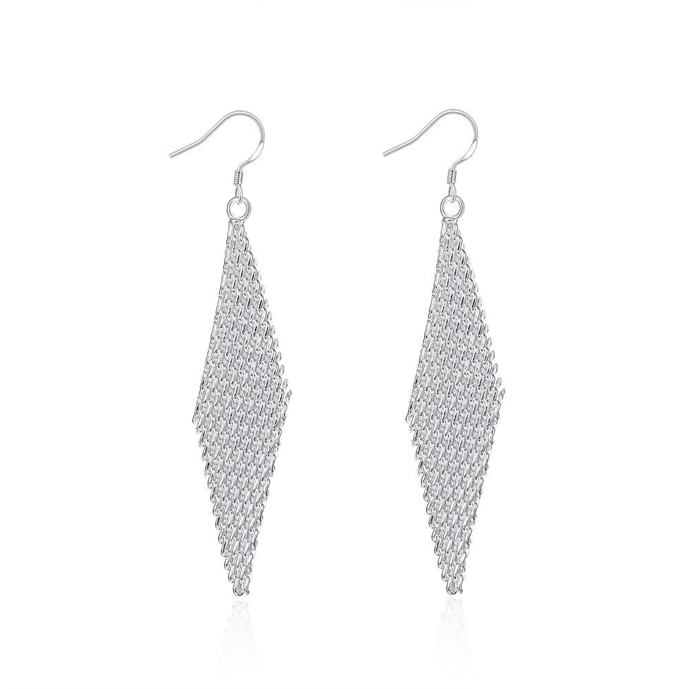18K White Gold Plated Drop Triangular Earring - Cozzoo