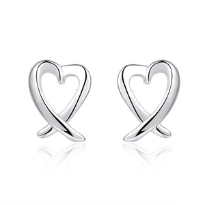18K White Gold Plated Abstract Curved Heart Shaped Earring - Cozzoo