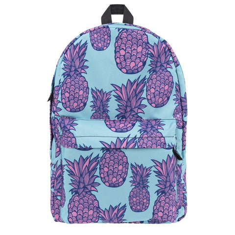 Light Blue Purple Pineapple Backpack Bookbag - Cozzoo
