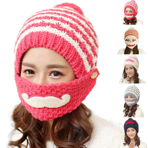 Cute Mustache Stripes Bearded Beanie Knitted Hat - Cozzoo