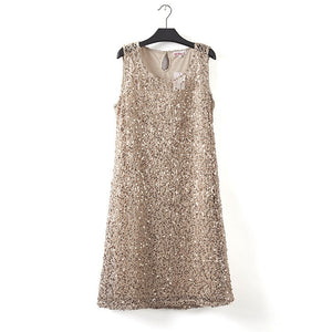 Beige Gold Silver Sleeveless Sequin Dress - Cozzoo