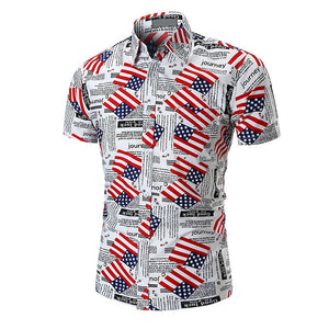 American Flag Men's Short Sleeves Button Down Shirt Slim Fit - Cozzoo