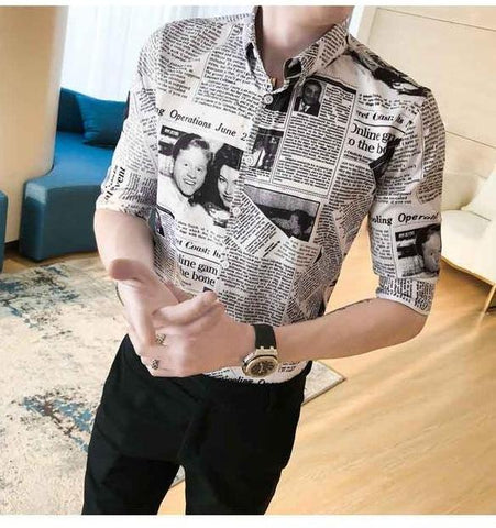 Newspaper Design Button Down Long Sleeves Shirt - Cozzoo