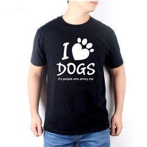 I Love Dogs It's People Who Annoy Me Dog Paw Funny T-Shirts - Cozzoo