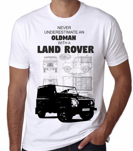Never Underestimate An Old Man With A Land Rover Car Model T-Shirts - Cozzoo