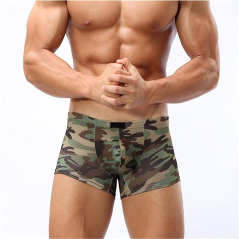Green Camouflage - Men's Boxer Shorts Underwear - Cozzoo