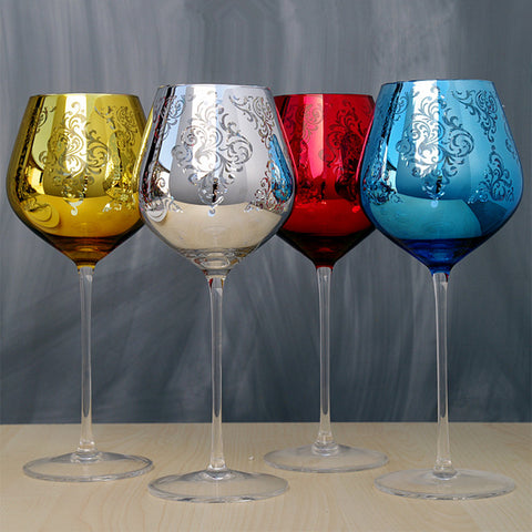 Multicolor Crystal Metal Wine/Champagne Glasses - Cozzoo