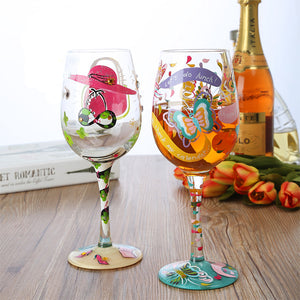 Hand-painted Butterfly Crystal Wine/Champagne Glasses - Cozzoo