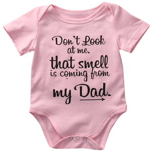 Don't Look At Me That Smell Is Coming From My Dad Funny Infant Baby Onesie Bodysuit - Cozzoo