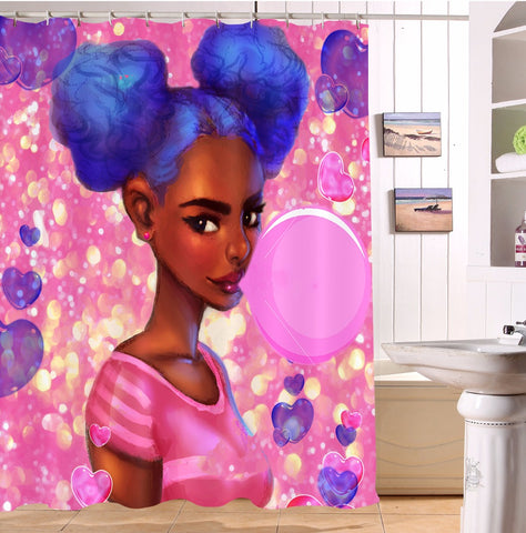 72'' African Black Girl Bubble Gum Black Girl Shower Curtain - Cozzoo