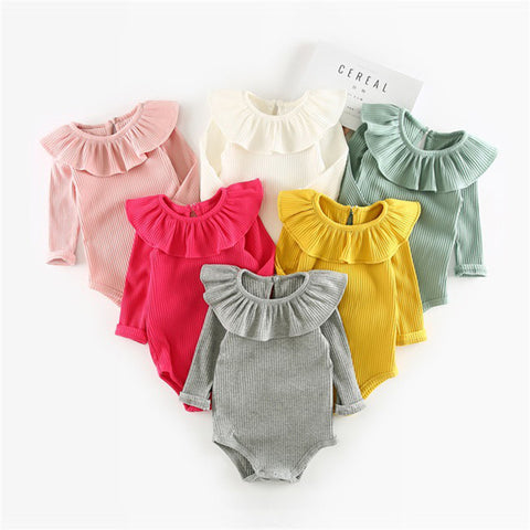 Gray, White, Yellow, Pink Ruffle Neck Collection New Born Infant Baby Onesie Bodysuit - Cozzoo