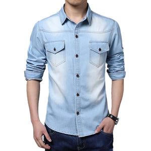 Dark Blue Button Downs Denim Jeans Long Sleeve Polo Shirts - Cozzoo
