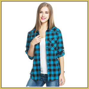 Women's Tartan Plaid Flannel Shirts, Roll up Sleeve Button Down Shirt - Cozzoo