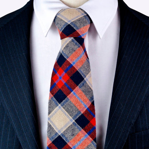Plaid Scottish Tartan Multicolor Cotton Red Green Blue Orange Yellow Mens Ties Neckties - Cozzoo
