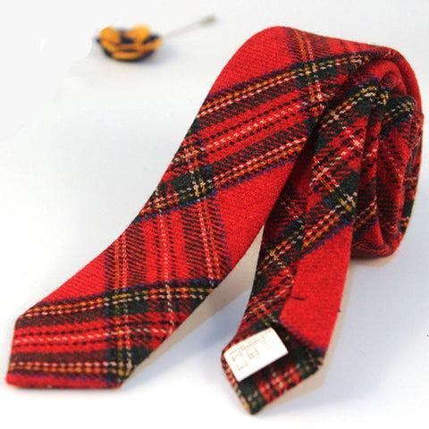 Men's 5cm Tartan Tie Wool Stripes Scottish Plaid Necktie - Cozzoo