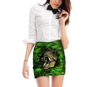 Dino, Dinosaur, Tiger, Panther, Wolf Women Pencil Skirt Mini Short Skirt - Cozzoo