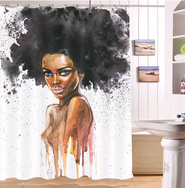 Watercolor Afro Black Woman Bathroom Polyester Black Girl Shower Curtain - Cozzoo