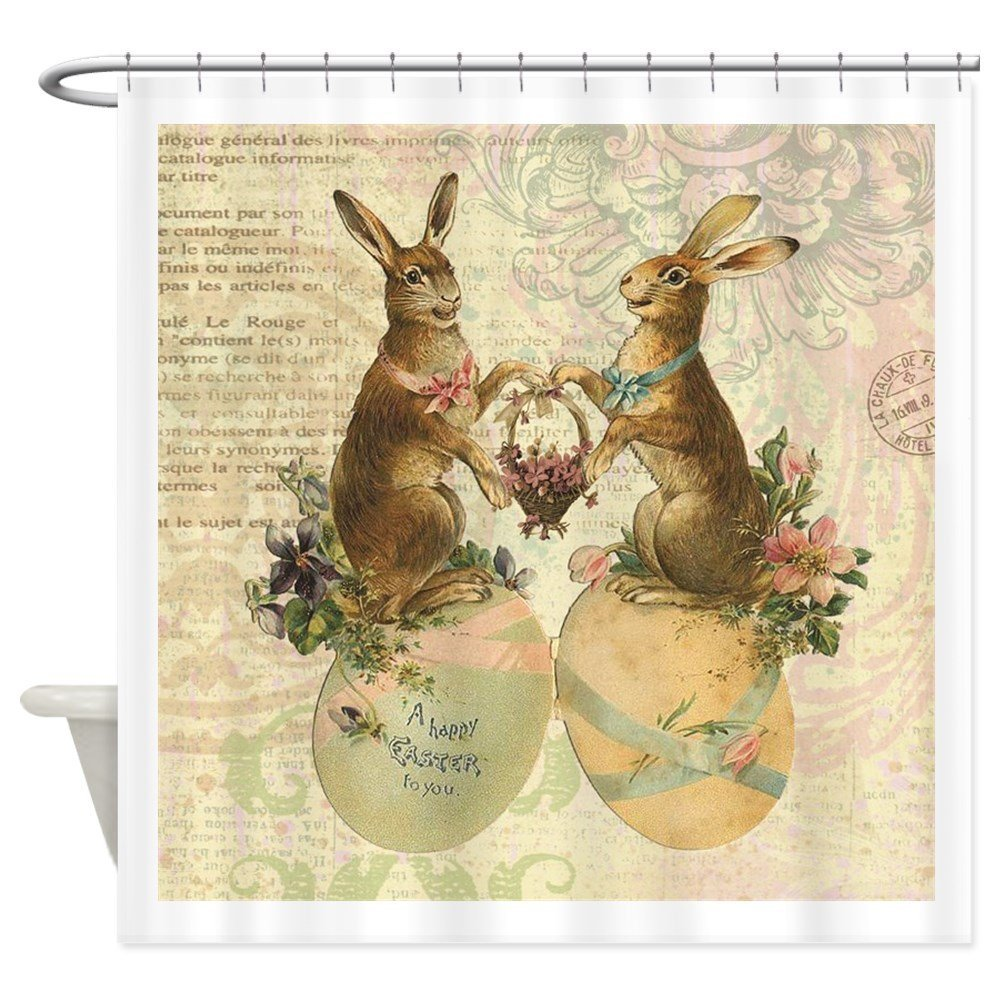 Couple Floral Rabbit Easter Egg Bunny Shower Curtain