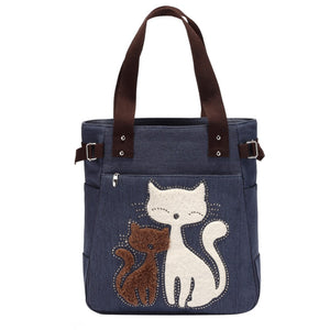 Cute Cat Handbag/Shoulder Shoulder Beach Tote Purse Canvas Handbags Totes Bags - Cozzoo