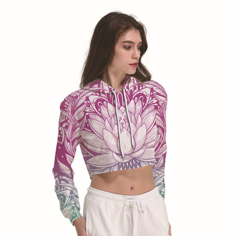 Lotus Flower Women's Crop Top Hoodie Sweater - Cozzoo