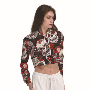 Spider Web Skeleton Skulls Black Women's Crop Top Hoodie Sweater - Cozzoo