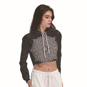 Black Mandala Flower Women's Crop Top Hoodie Sweater - Cozzoo