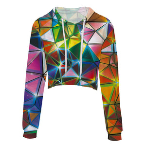 Orange, Pink, Purple, Blue Geometric Triangles Women's Crop Top Hoodie Sweater - Cozzoo
