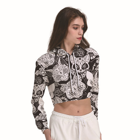 Cat Animal Mandala Black Women's Crop Top Hoodie Sweater - Cozzoo