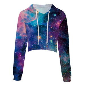 Stars And Galaxy Women's Crop Top Hoodie Sweater - Cozzoo