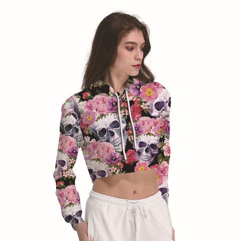 Skulls And Pink Floral Women's Crop Top Hoodie Sweater - Cozzoo