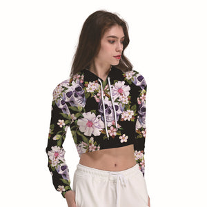 Skulls And Flower Black Women's Crop Top Hoodie Sweater - Cozzoo
