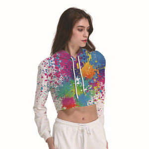 Rainbow Color Splash Women's Crop Top Hoodie Sweater - Cozzoo