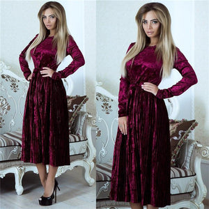 Green, Brown, Red, Blue  Collection Long Sleeve Velvet Dress - Cozzoo