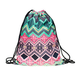 Polyester Vintage Retro Pattern Drawstring Bags Cinch String Backpack Funny Funky Cute Novelty - Cozzoo