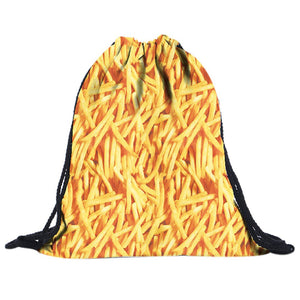 French Fries Pattern Drawstring Bags Cinch String Backpack - Cozzoo