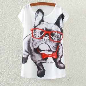 French Bulldog Wearing Glasses And Necktie Dog T-Shirts - Cozzoo