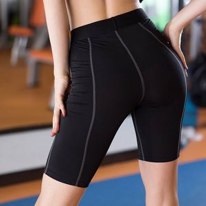 Thigh-length Women Gym Compression Shorts Spandex Ladies Volleyball Running lycra Athletic - Cozzoo