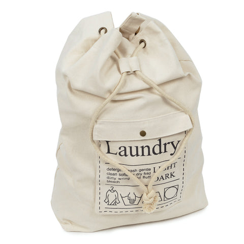 Large Drawstring Cotton Canvas Laundry Bag Dirty Clothes Storage Bag with Adjustable Shoulder Strap for Home Laundromat Travel - Cozzoo